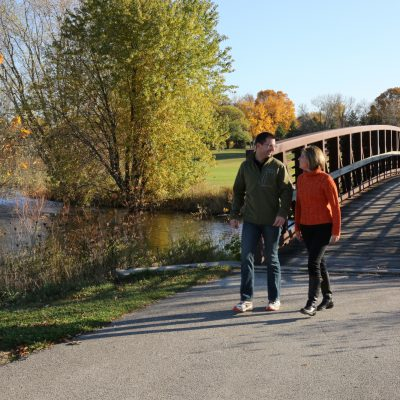 west bend wisconsin riverwalk in fall