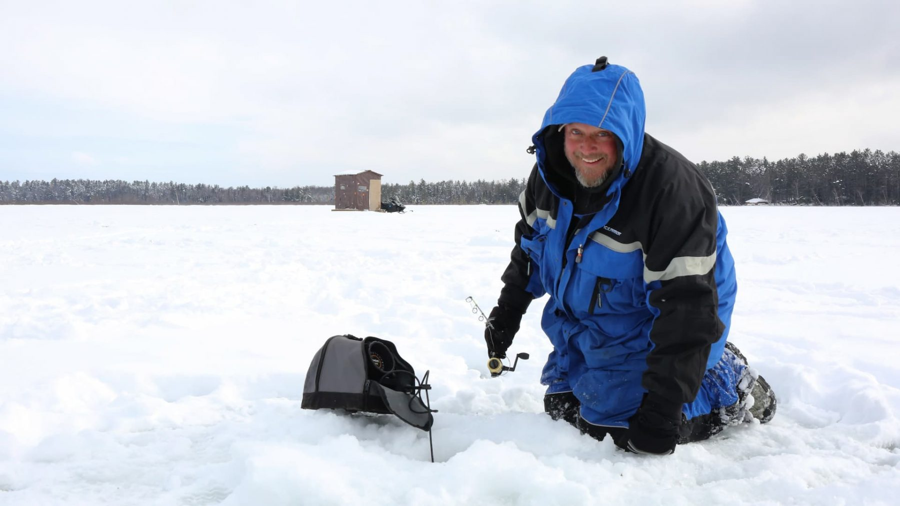 Ice fishing in Vilas County, WI