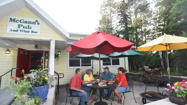 Outdoor patio at a Boulder Junction Wisconsin wine bar